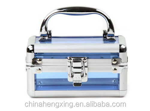 professional fashion makeup kits beauty blue makeup case acrylic cosmetic box portable makeup box