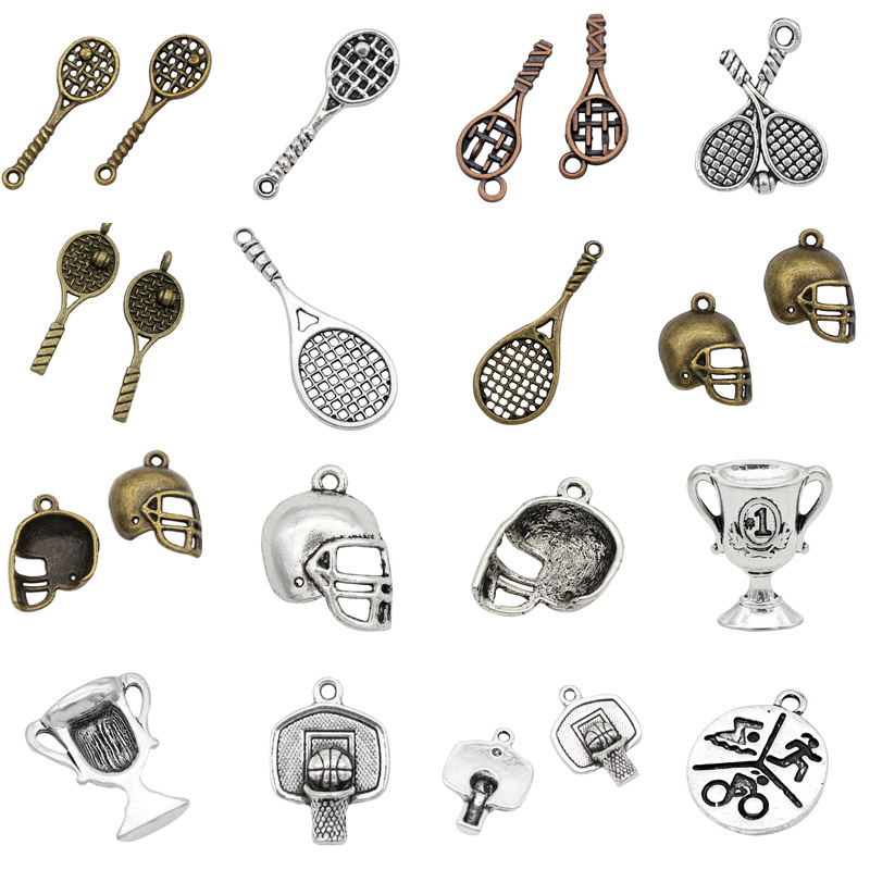 Sports Basketball Rim Tennis Racket Football Helmet Trophy Swimming Bike Running Fitness Pendants Charms For Bracelets Necklaces