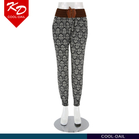 wholesale fashionable printed lightweight smooth loose fitting cuffed hippie harem pants