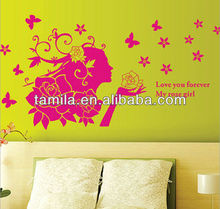 Pink Giant Fairy Flower and Butterfly Lady Woman PEEL and STICK Removable Vinyl Art Vinyl Wall Decals Home Decor Living Room