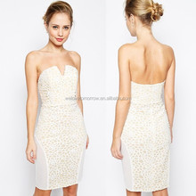 Hot sexy lady strapless backless elegent white wraped short evening dress made in china