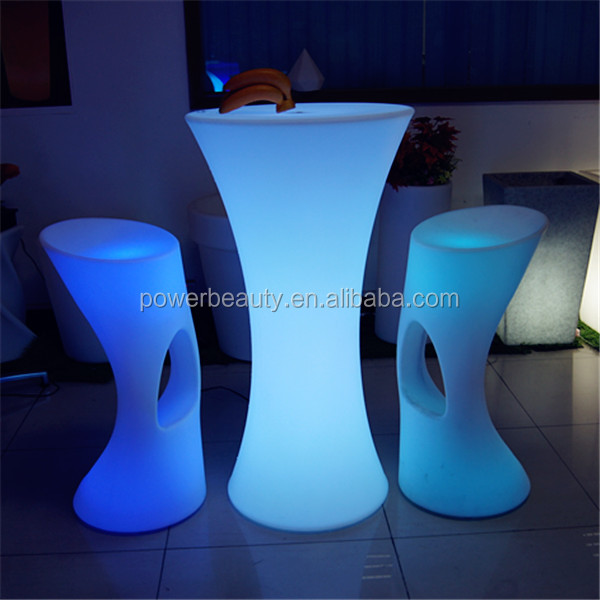 Rechargeable led illuminated waterproof glowing plastic coffee table