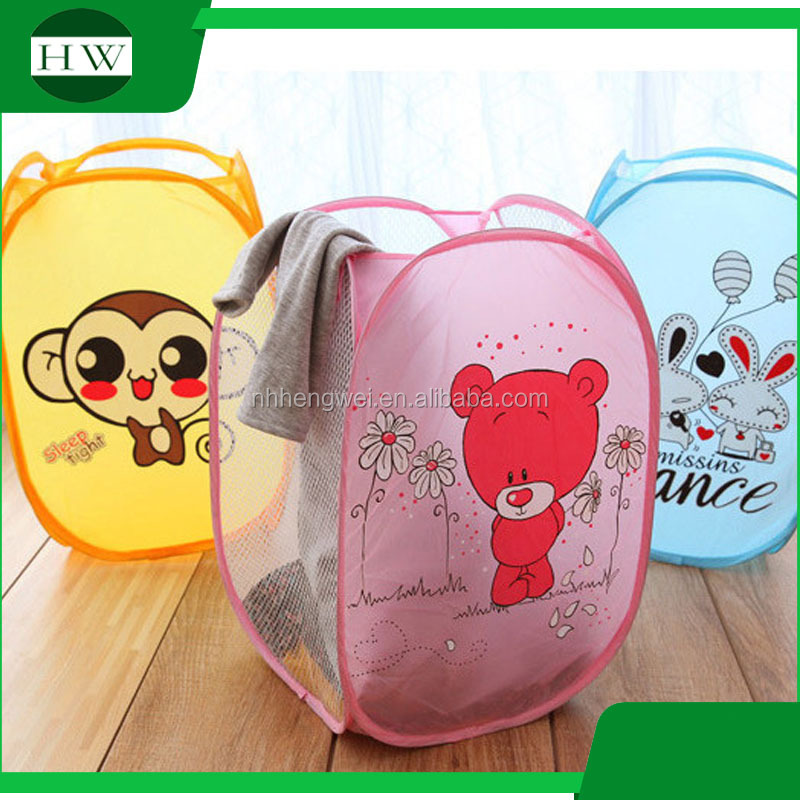 Cartoon animal polyester foldable mesh cloth nylon laundry basket