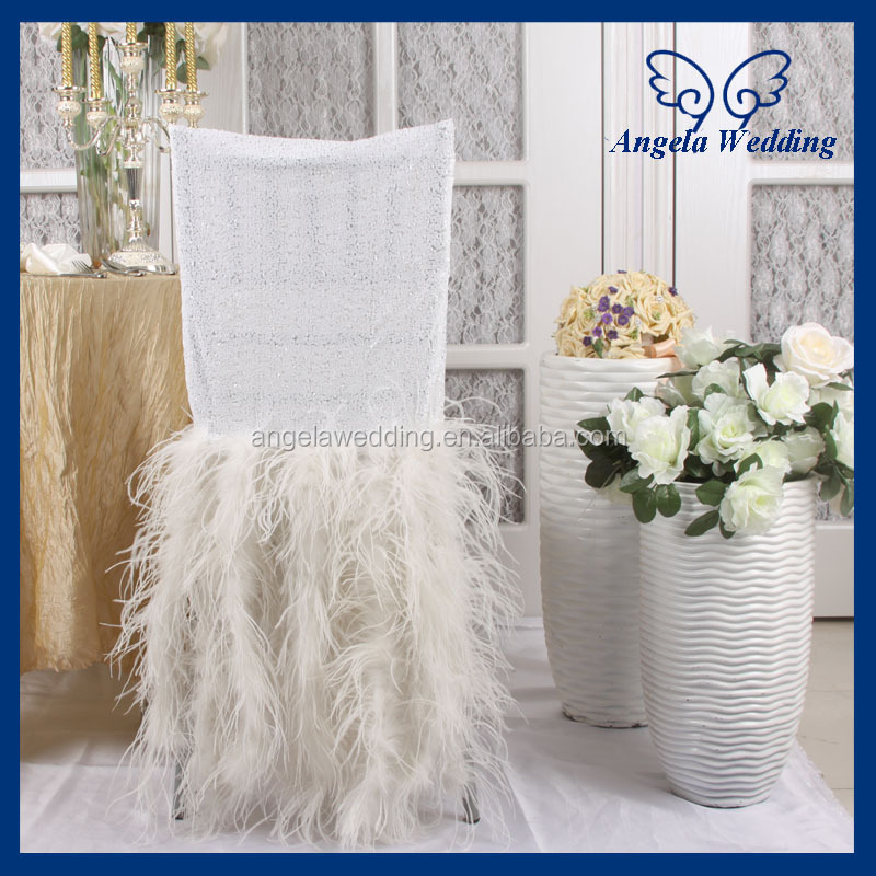 CH017B Luxury 2017 wedding chiavari expensive white sequin and Ostrich feather chair covers