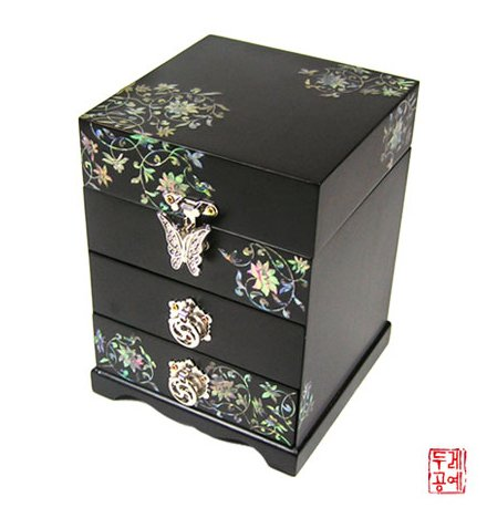 [KITA] Mother of Pearl Jewelry Box of Drawer Inlaid with Imaginary Flower