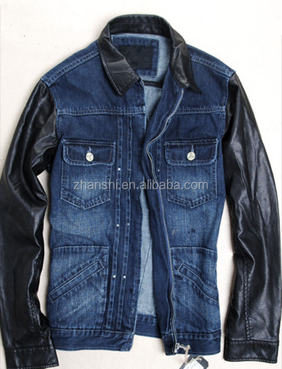 New Design Mens Fashion Motorcycle Jean Jacket With Leather Sleeves