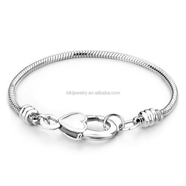 Cheap Wholesale Silver Plated Heart Lobster Clasp Snake Chain Charms Bracelet