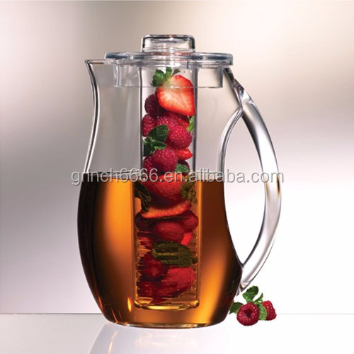 2.5L Water Fruit Infuser Infusion Drinking Plastic Pitcher,acrylic plastic water pitchers