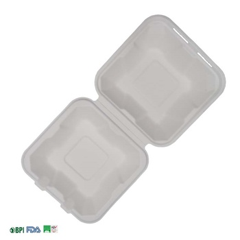 100% Biodegradable & Compostable  Bagasse  6inch burger box