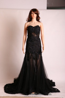 OEM factory china backless embroidered lace fishtail women's evening dress guangzhou