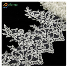 2016 Bailange bilateral mesh cotton lace ivory Bridal Lace trim for wedding dress