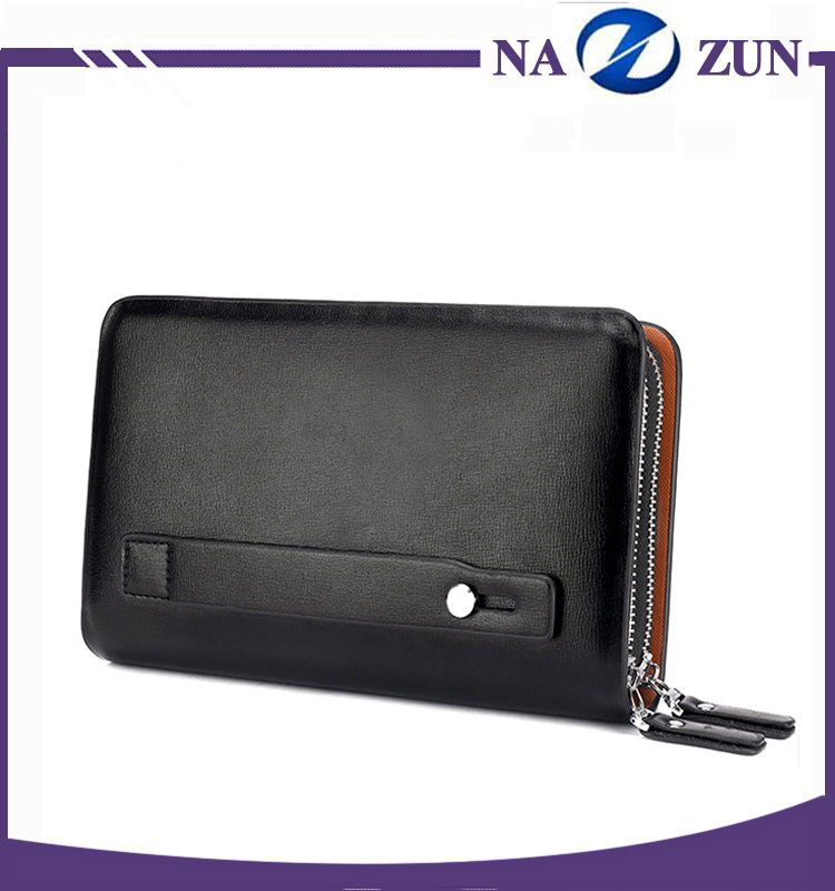 Hot design large capacity leather men wallets long style double zipper big purse for man