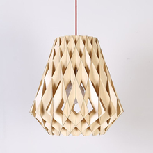 Modern Fancy Knit Natural Wooden Pendant Light With Classic Black White Hanging Lamp