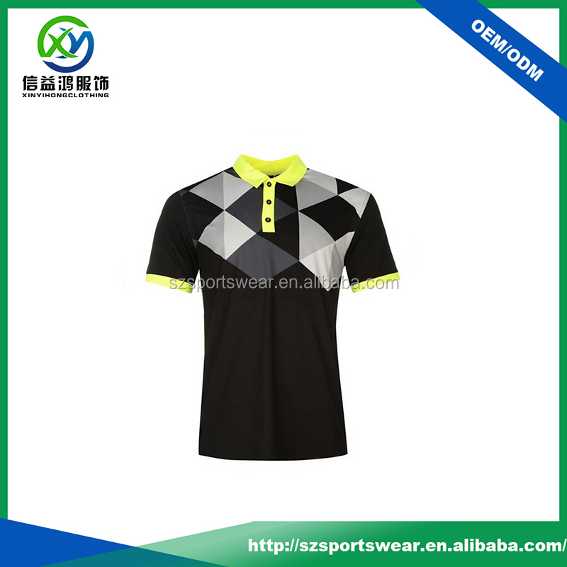 Customized Polyester Black Colour Contrast Collar Dri Fit Polo Shirt