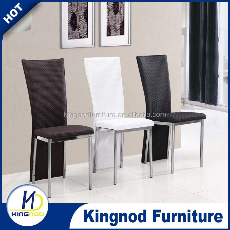 modern design luxury wholesale hotel restaurant black white pu leather chromed metal leg dining room furniture table chair