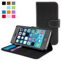 Snugg case for iPhone 5 / 5s Case - Leather Flip Case with Lifetime Guarantee (Black) for Apple iPhone 5 / 5s