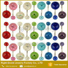 14G Piercing For Belly Button Wholesale Double Crystal Ball Epoxy Coated Ferido Belly Button Ring