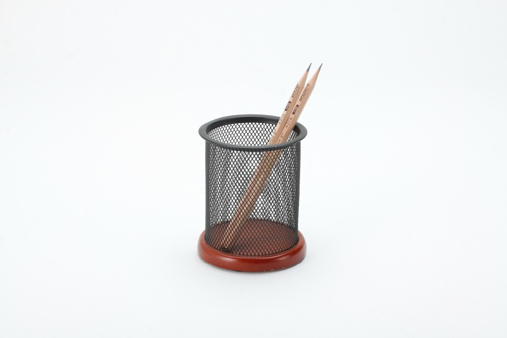 office supplier metal mesh wood base round pen and pencil holder