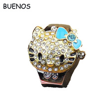 Lovely Hello Kitty Cartoon Girl Diamond Quartz Ring Watches for Women Finger