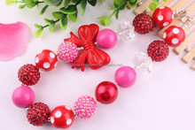 Look!!DIY 2015 Newest chunky red bead necklace for kids/plastic bead necklace for kids