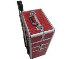 2015 Professional rolling aluminum make up trolley hair salon nail beauty case