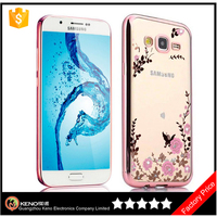 Keno Butterfly Soft TPU Plating Bling Glitter Transparent Back Case phone Cover for Samsung Galaxy J7