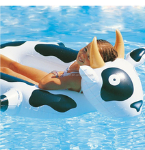1pc MOQ Stocked PVC Inflatable Animal Milk Cow Small 2 Kid Boat Swimming Pool Air Floating Toys for Kids