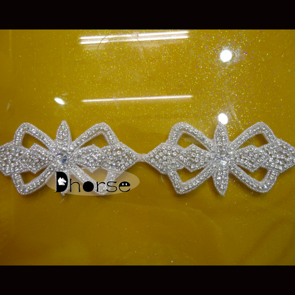 Silver bridal crystal trim beaded rhinestone bow applique trim for wedding sash belt