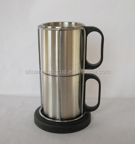 8 oz 2 in 1 Stainless Steel Coffee Mug Set with stand / Stackable Stainless Steel Coffee Mug