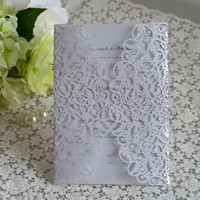 2016 Floral Laser Cut Wedding Invitations Philippines with Envelope