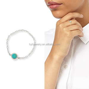 2018 fashion trendy style single stone rings,turquoise gemstone stackable ting,925 sterlin silver chain ring