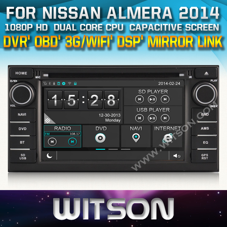 AUTO RADIO DVD For NISSAN NISSAN JUKE/ALMERA/NOTE/LIVINA 2014 STEERING WHEEL CONTROL FRONT DVR CAPACTIVE SCREEN