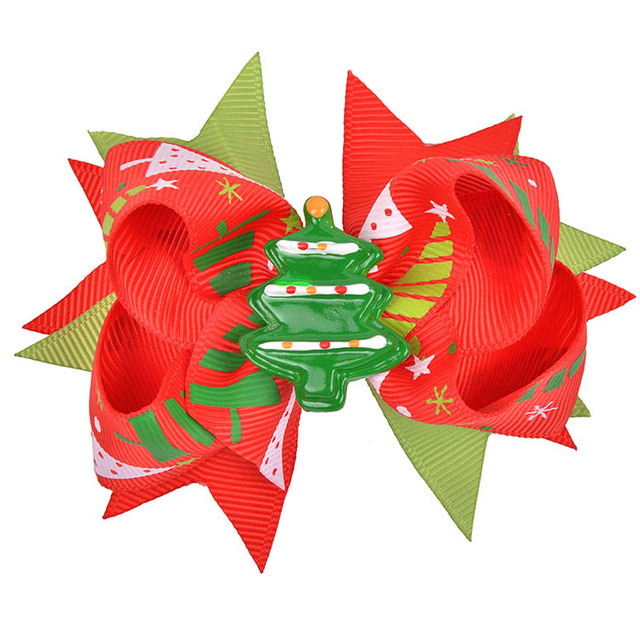 Boutique Sweetie Double Laryers Ribbon Grosgrain Christmas Hair Bows