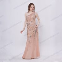 Elegant shiny sequin one-shoulder nice chiffon lace up long smart evening dresses