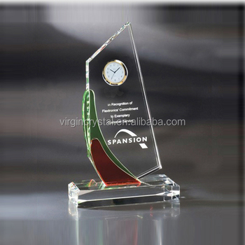 Promotional crystal glass table clock shipping boat shape clock as business souvenir