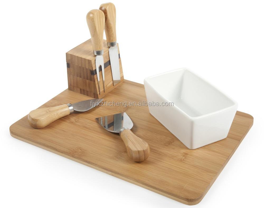 Gros bambou en bois fromage conseil ensemble avec magnétique fromage couteaux titulaire