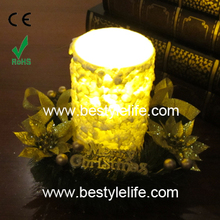 Flickering Led candle wax decoration with wreath