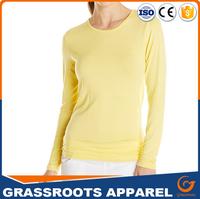 2017 Guangzhou Shandao New Simple Design Slim Fit Long Sleeve Gray Fashion Women 200g 95% Cotton 5% Elastic T Shirts