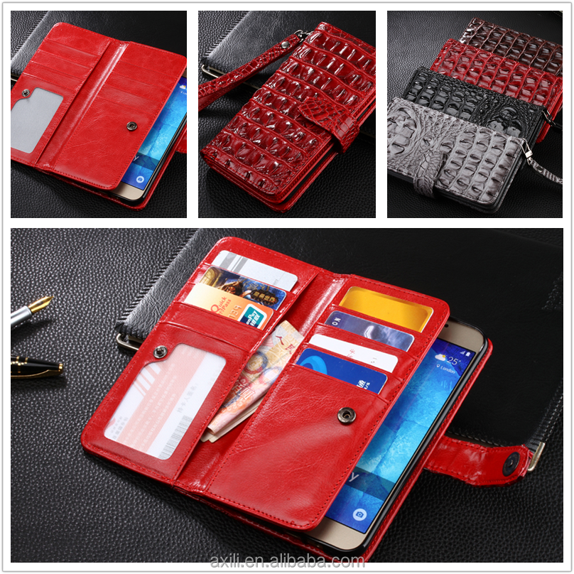 Crocodile Leather Diary Wallet Cover + Wrist Strap for LG G4 5 K7 Stylus Xpower