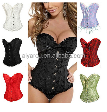Sexy Overbust Jacquard Floral Lace Trim Bustier Body slimming corset