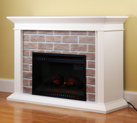 "2018 US Boston 48"" Fireplace Mantels Wooden Surround LED Electric Fireplace w/ Remote Control"