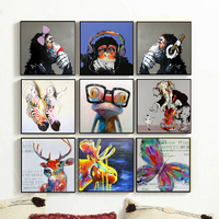 With frame Canvas Monkey animal oil painting for living room wall decorative