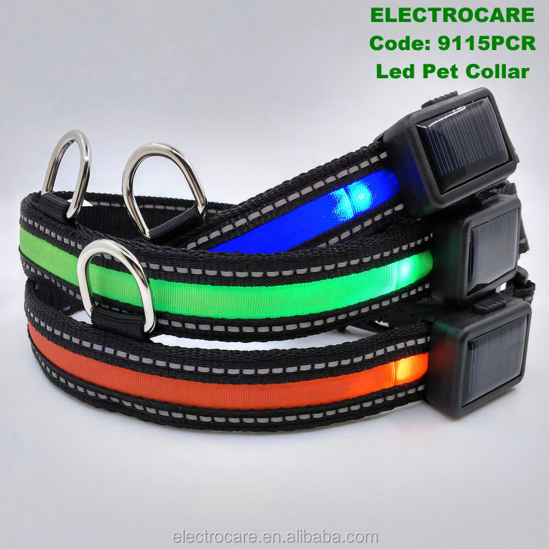 solar energy and USB rechargeable led dog collar 9115PCR led pet collar