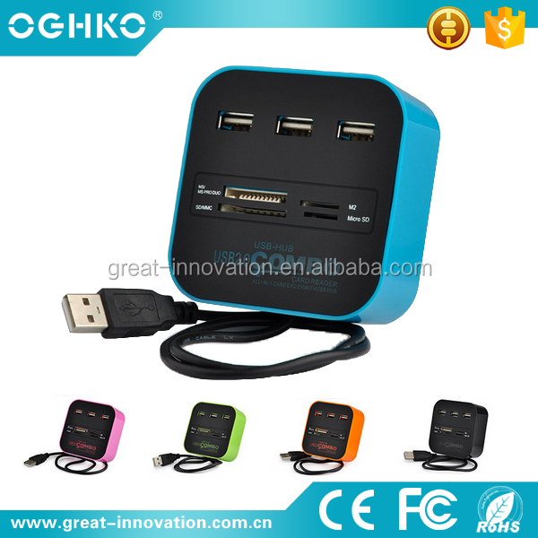 Popular Cube shape Combined USB 2.0 HUB with Card reader