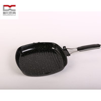 carbon steel square shape marble enamel coating foldable handle beef fry pan