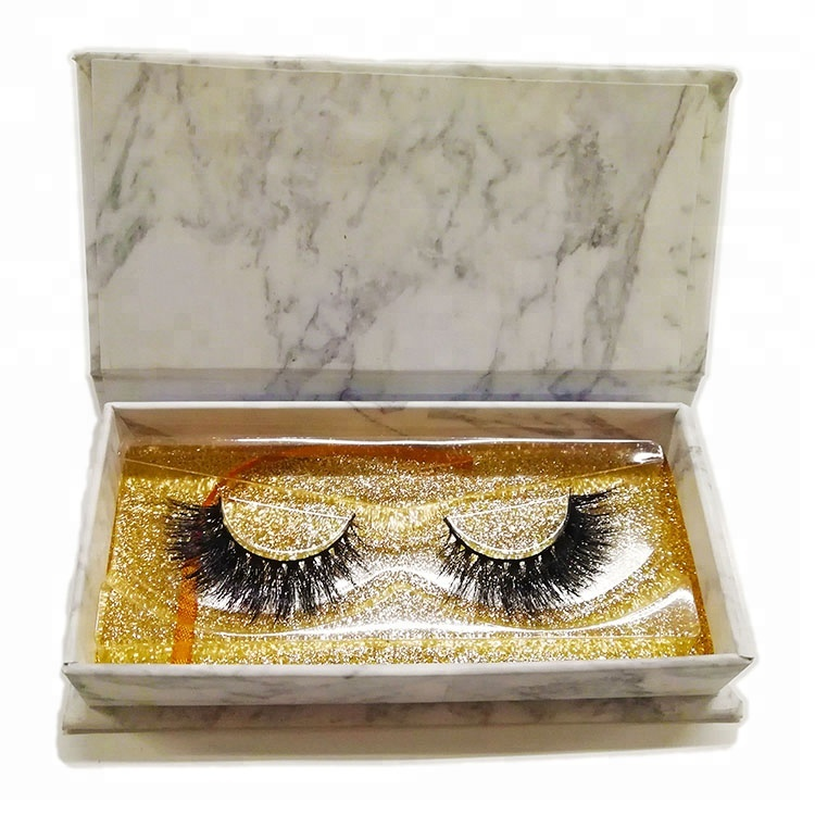 Mink Fur 3D Eye Lash Packing <strong>Box</strong> With LOGO Marble Design