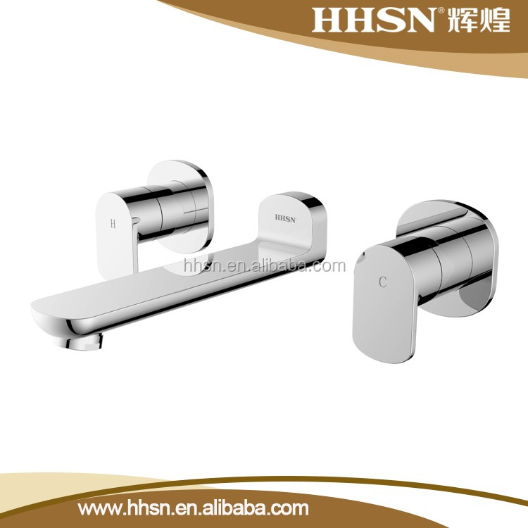 HH222150 Modern Wall mounted brass dual handle basin faucet