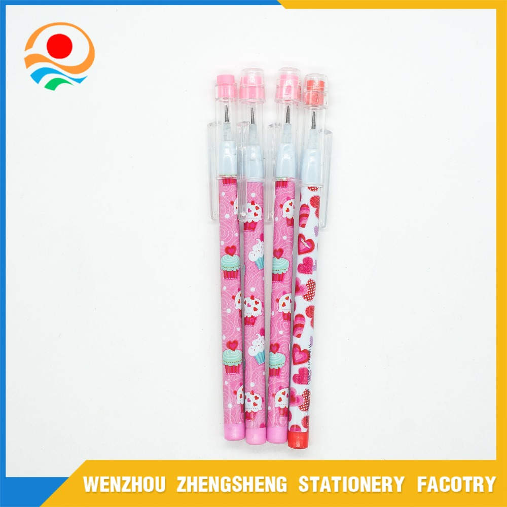 China School Stationery Plastic Mechanical Push Pencil with Logo