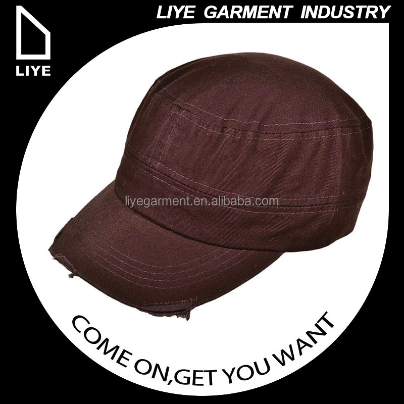 China Liye professional manufacturer high quality brown and white custom military blank hat