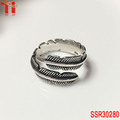 hot selling fashion vintage feather ring stainless steel vintage rings elaborate open feathery ring